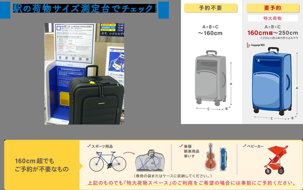 駅の荷物サイズ測定台でチェック!